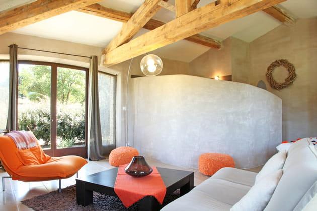 salon gris et orang. Black Bedroom Furniture Sets. Home Design Ideas