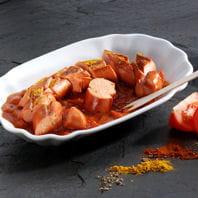currywurst,spécialité berlinoise, appréciée des autrichiens, à base de saucisse