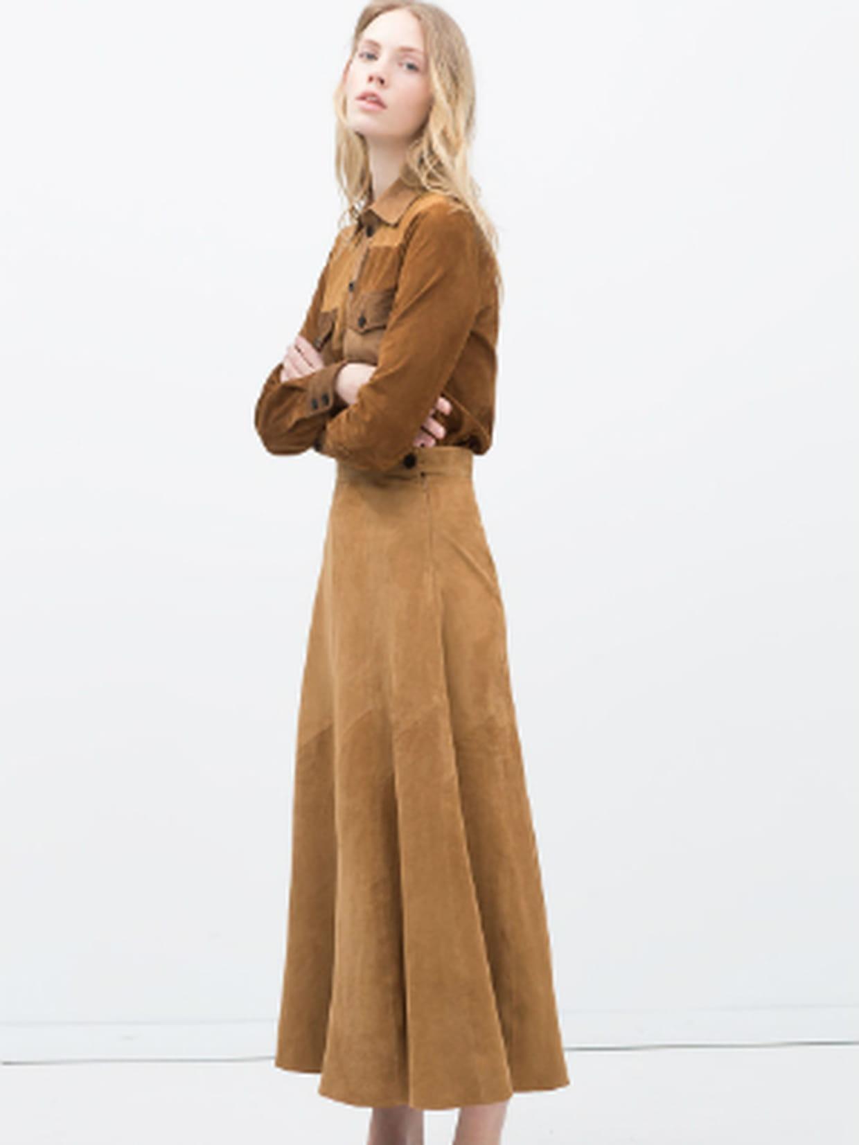 Jupe longue en daim à pièces de Zara