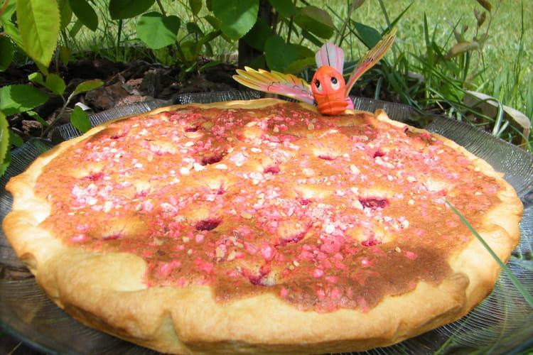 Tarte noix de coco, framboises et pralines roses