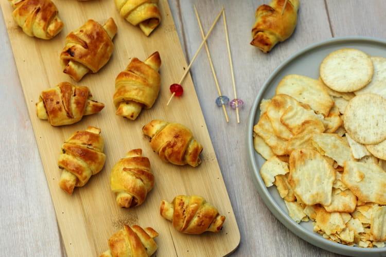 Mini croissants feuilletés au poulet et moutarde