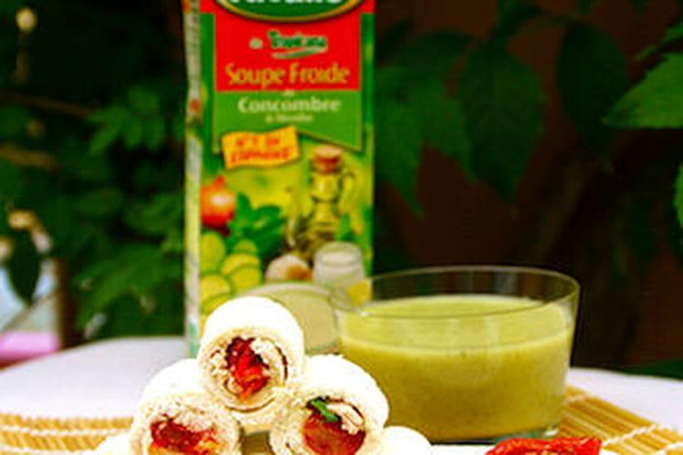 Soupe Froide de Concombre & Menthe Alvalle et ses p'tits roulés apéritifs