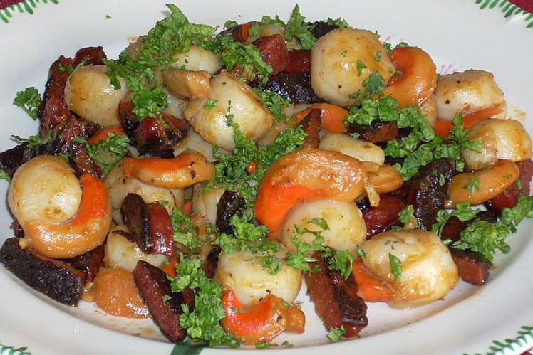 Recette de noix de saint jacques au chorizo la recette - Comment cuisiner des noix de saint jacques ...