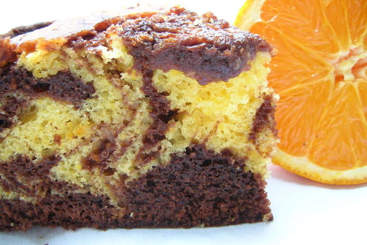 Gâteau marbré chocolat /orange