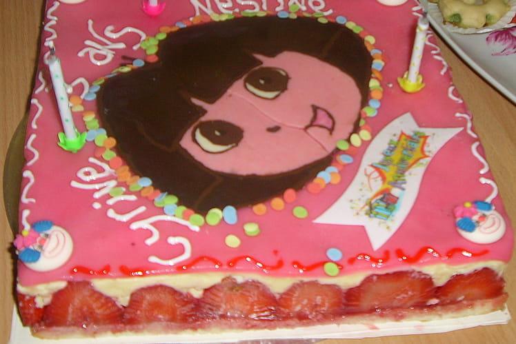 Fraisier d'anniversaire Dora