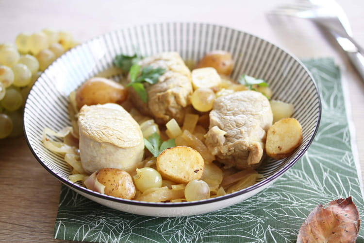 Filet mignon aux raisins et aux pommes de terre ratte