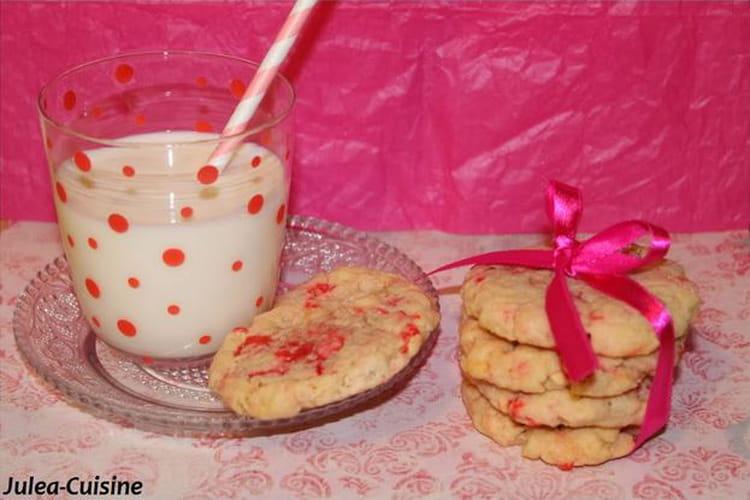 Cookies express au chocolat blanc et pralines roses