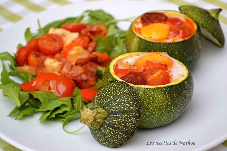 Courgettes rondes farcies aux oeufs, tomates, poivrons et chorizo