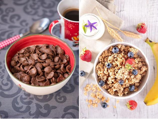 Céréales au chocolat ou muesli croustillant aux fruits ?