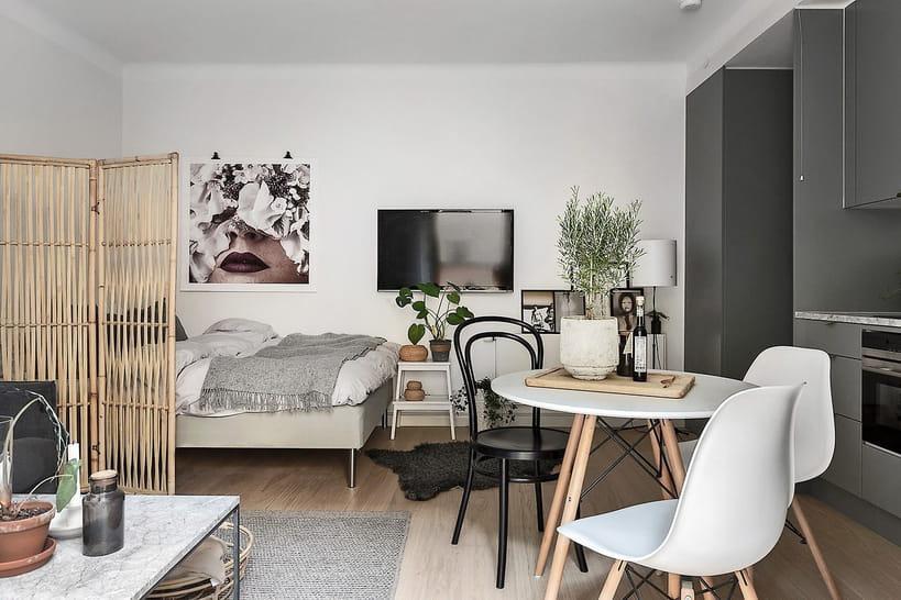 des id es pour cr er ou d limiter le coin nuit dans un studio. Black Bedroom Furniture Sets. Home Design Ideas