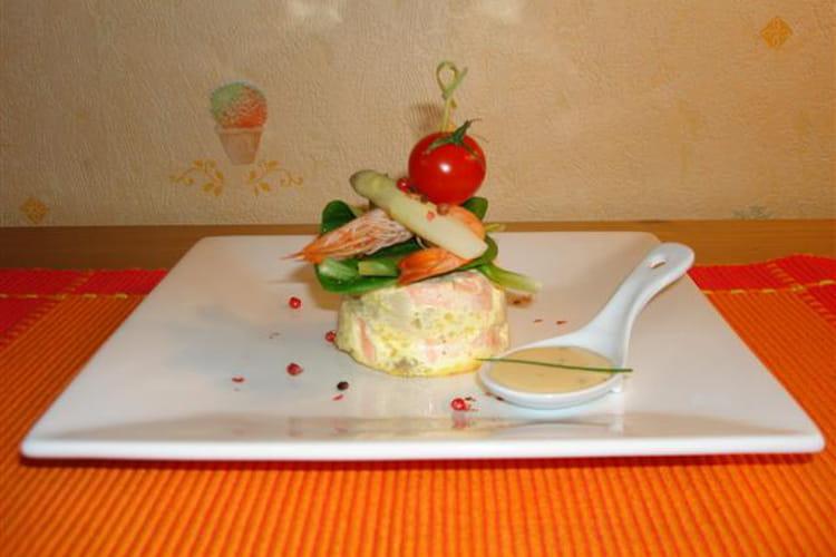 Terrinette saumon asperges, sauce ciboulette