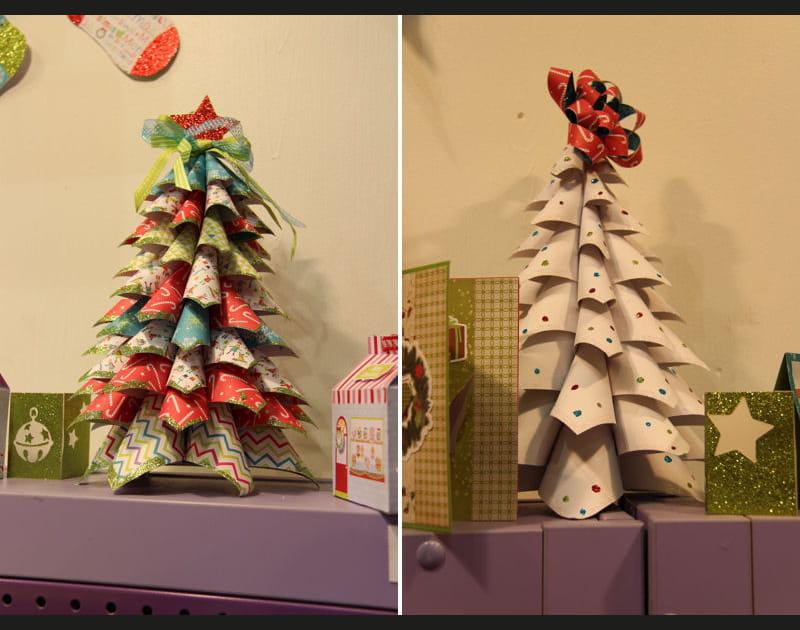 Des mini sapins de Noël en papier