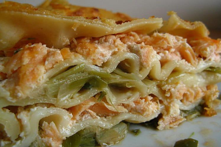 Lasagnes aux deux saumons et aux poireaux