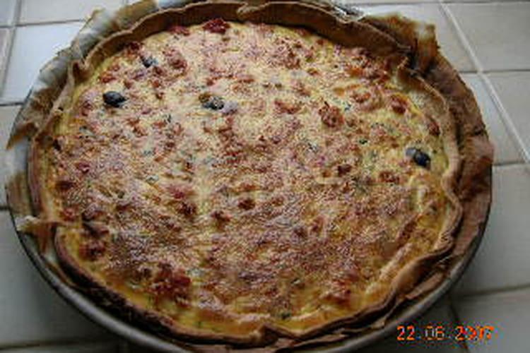 Quiche au thon, cumin et olives