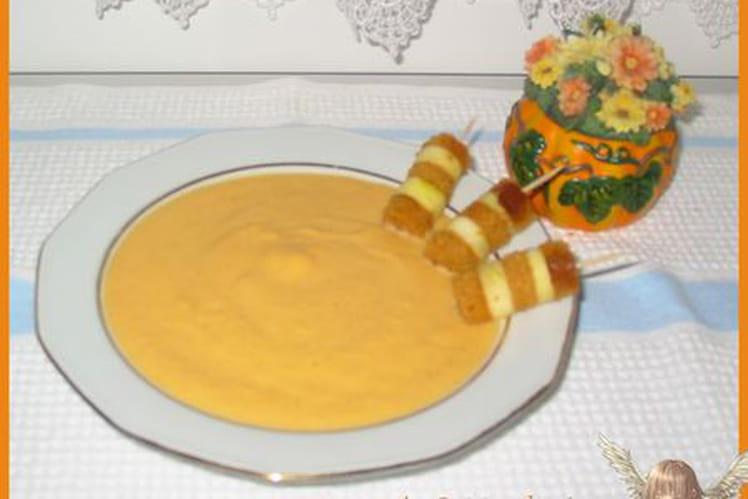 Velouté de potiron à la vanille et mini brochettes