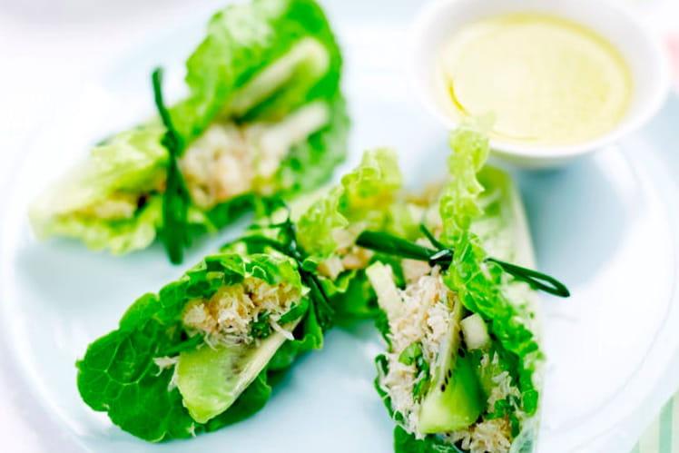 Nems de crabe aux kiwis et pomme verte