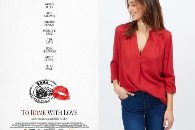 "Une blouse rouge façon Monica dans ""To Rome with Love"""