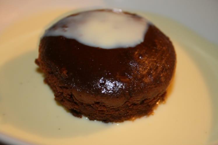 Fondant au chocolat sur crème anglaise à la vanille