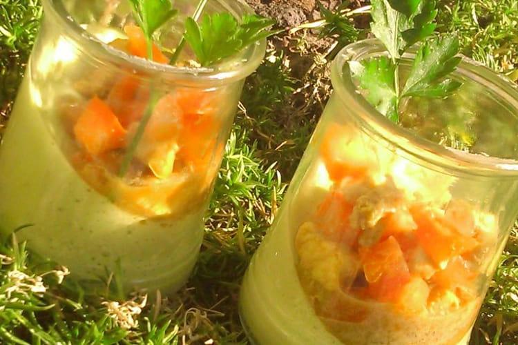 Verrines de panna cotta au poivron vert