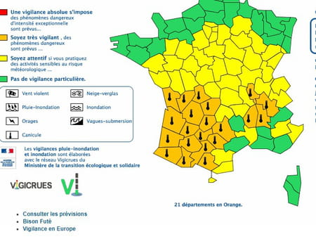 carte france département canicule alerte
