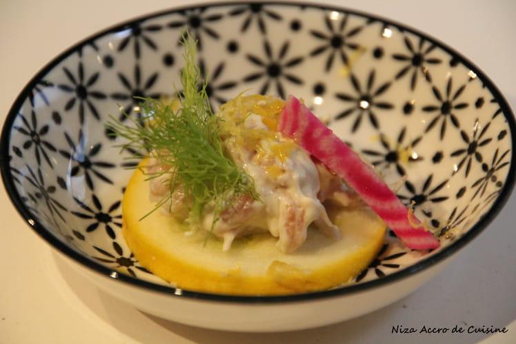 Tapas aux crevettes grises, betterave chioggia à l'huile de truffe blanche
