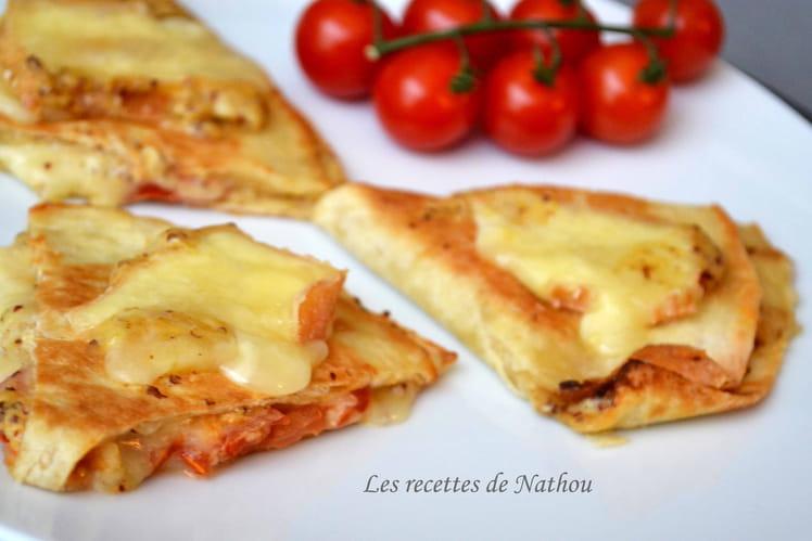 Quesadillas aux Maroilles, tomates et moutarde à l'ancienne