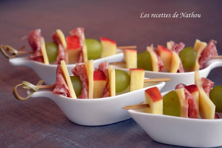 Favorit Recette de Brochettes de fruits, fromage et salami : la recette facile AF69