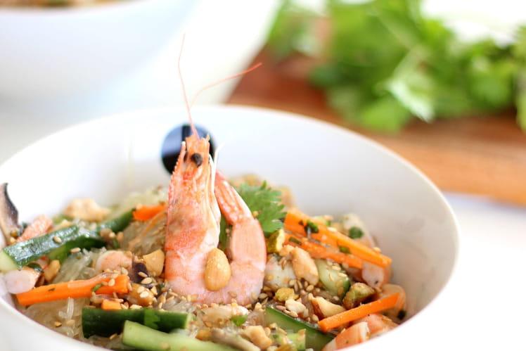 Salade de vermicelles de riz et crevettes
