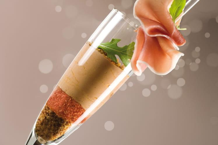 Trifle de foie gras aux figues et jambon cru