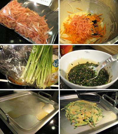 préparation des crêpes coréennes
