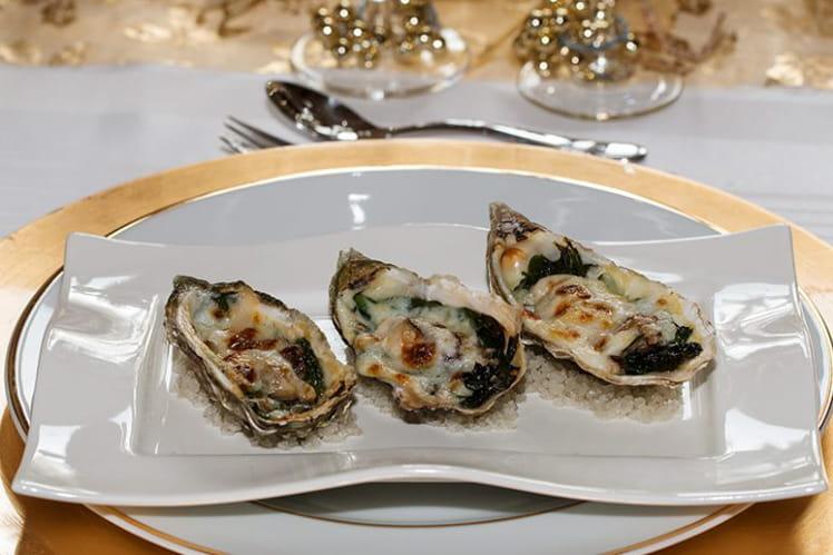 Huîtres Rockfeller aux épinards, anisette et parmesan