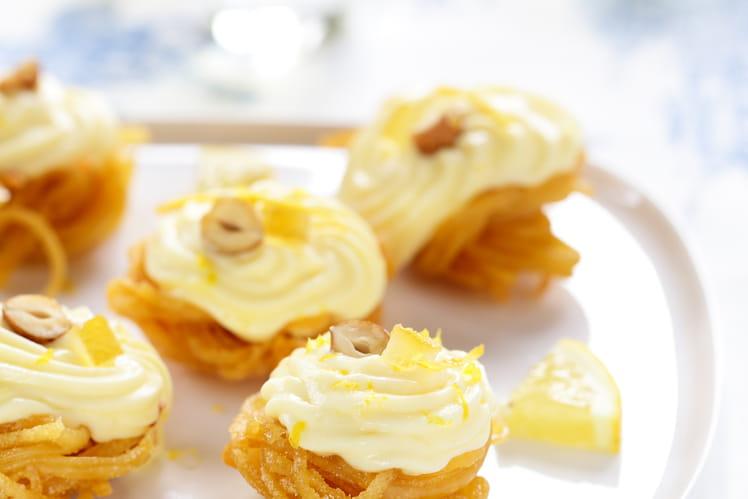 Nids de Linguine croustillantes à la crème de citron