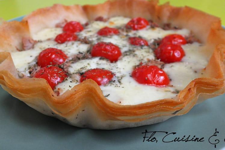 Tarte au thon, tomates et mozzarella, base feuille de brick
