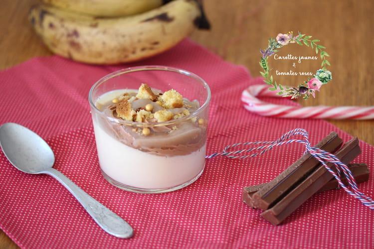 Panna cotta vanille, ganache chocolat au lait et coulis banane et litchi en verrines