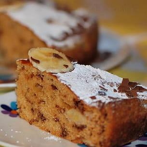 moelleux à la banane, confiture de lait & chocolat