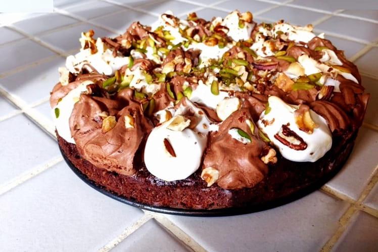 Fondant au chocolat meringué aux noix de pécan