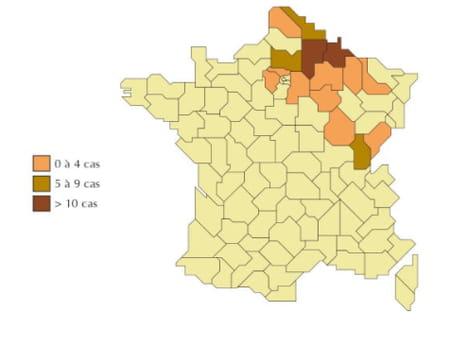 Carte de présence du hantavirus en France