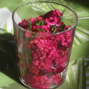 taboulé rose aux betteraves et boughour