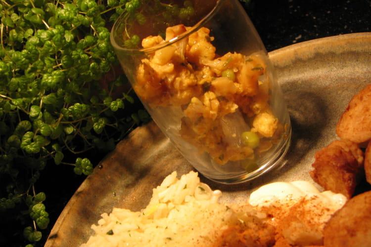 Chou-fleur  au curry et riz au citron