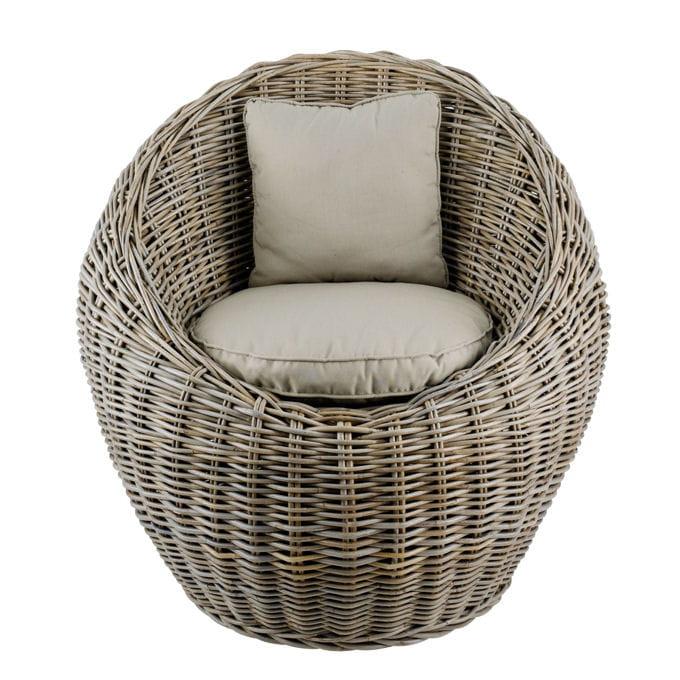 fauteuil rond en rotin et kubo tress beige de delamaison. Black Bedroom Furniture Sets. Home Design Ideas