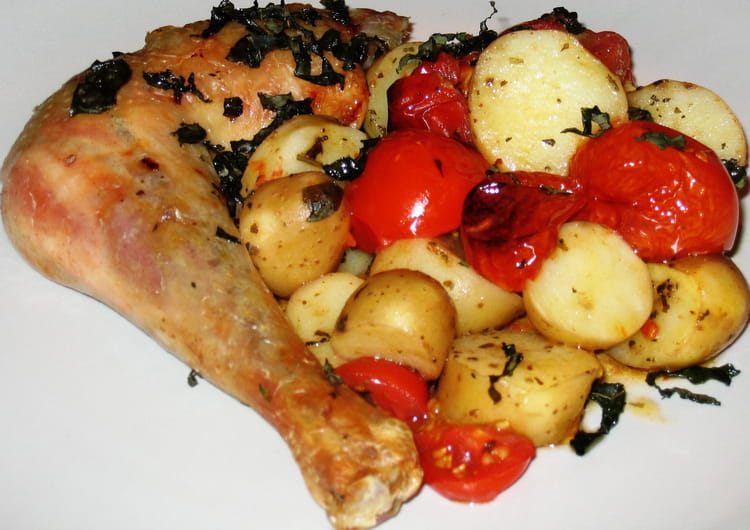 recette de poulet croustillant aux tomates confites la recette facile. Black Bedroom Furniture Sets. Home Design Ideas