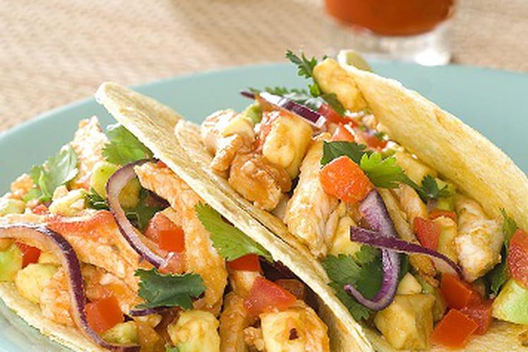 Tacos de poulet mariné, sauce coriandre et tequila