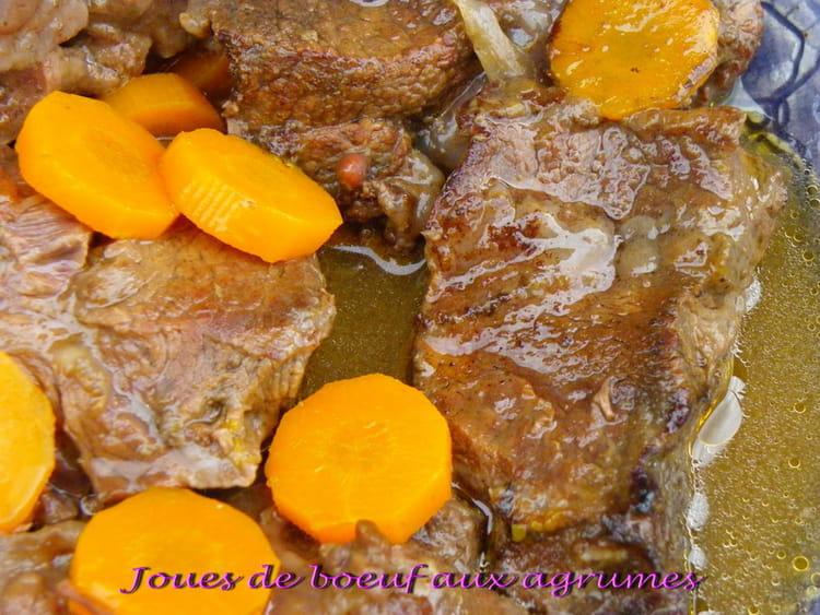 Recette de joues de boeuf aux deux agrumes la recette facile - Cuisiner une joue de boeuf ...