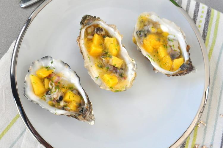 Tartare d'huîtres, mangue et passion