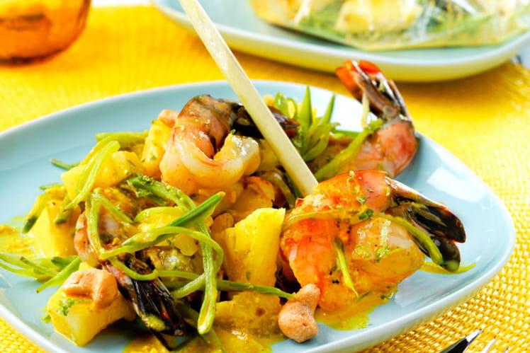 Recette de papillotes de gambas au curry la recette facile - Cuisine tv recettes 24 minutes chrono ...