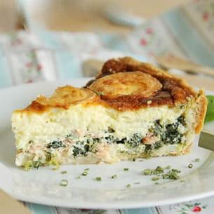 tarte à l'épinard, saumon et chèvre