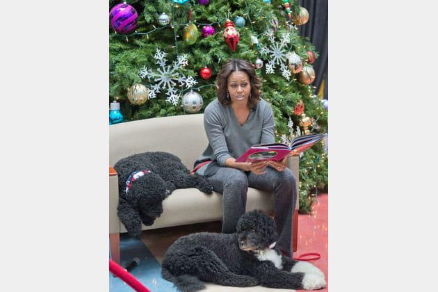 Michelle Obama avec Sunny et Bô