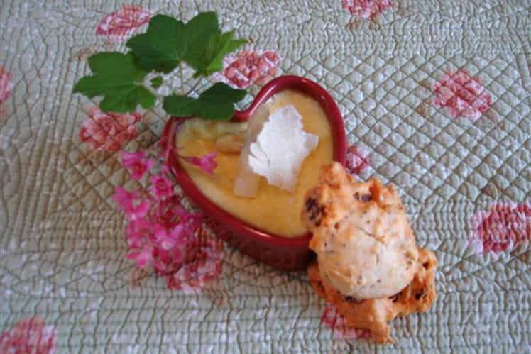 Crème brûlée asperges-parmesan et mini-cakes chorizo