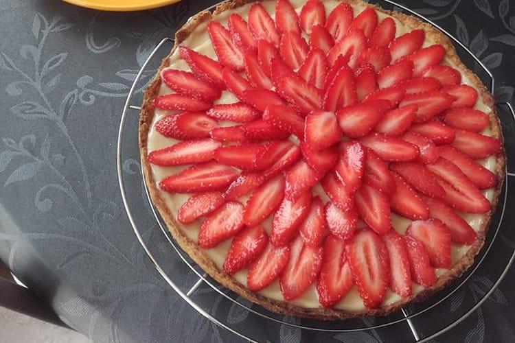 Tarte aux fraises à la crème pâtissière et au lait d'amande