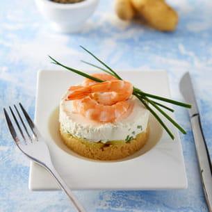 Cheesecake de crevettes et Ratte du Touquet